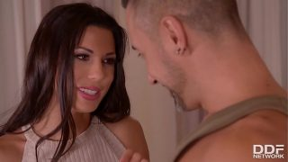 Soldier & husband double penetrate horny wife Alexa Tomas until she screams